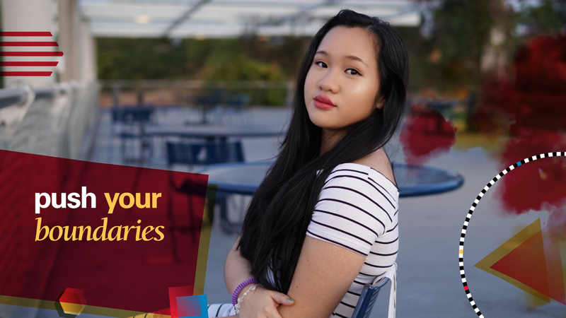 """Student headshot with text that says """"Push Your Boundaries"""""""